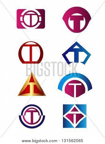 Set of letter T logo Branding Identity Corporate vector symbol design template