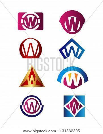 Set of letter W logo Branding Identity Corporate vector symbol design template