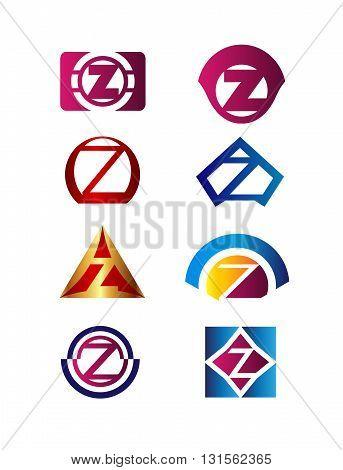 Set of letter Z logo Branding Identity Corporate vector symbol design template