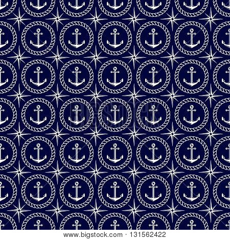 Nautical seamless pattern with anchor wind rose and rope. Elegant vector background.