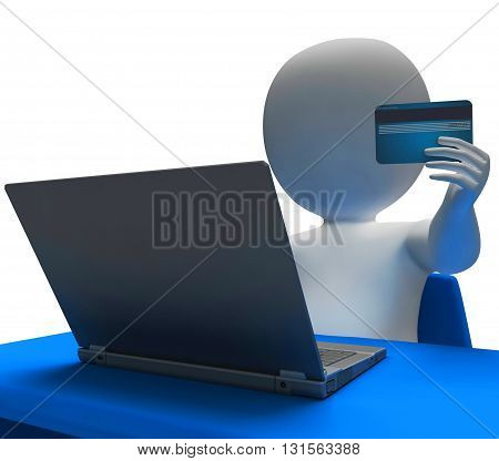 Credit Card Represents World Wide Web And Buyer 3D Rendering