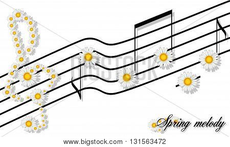 Spring Melody print floral pattern of camomiles notes on a stave and the treble clef isolated on white for t-shirts, textiles and printing products
