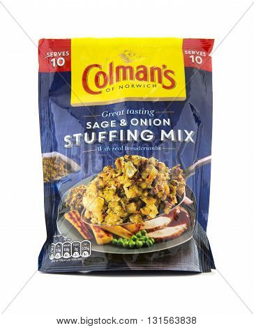 SWINDON UK - MAY 21 2016: Packet of Colmans Sage and Onion stuffing mix on a white background