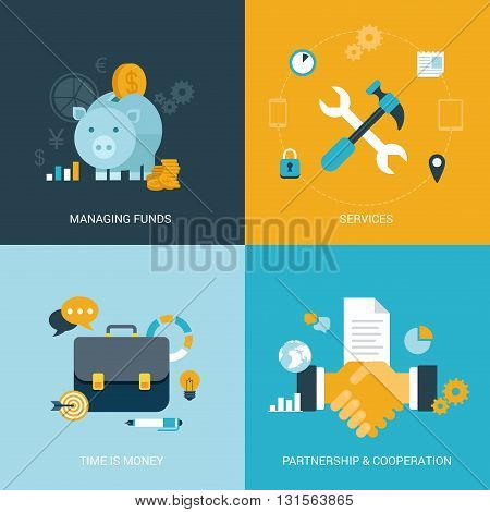 Flat vector illustration concept money finance