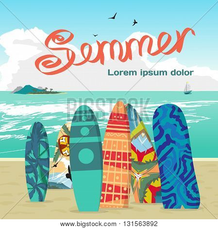 Summer vacation concept background with space for text. Sea landscape summer beach surfboards stuck in the sand. Surfboards set. Surfboards collection. Vector cartoon flat illustration
