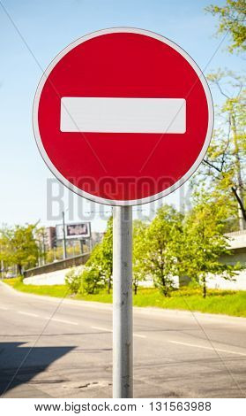 Round Red Road Sign On Metal Pole. No Entry