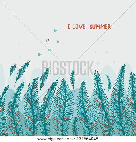 Hand drawn palm leaves on white background. Fashion tropical vector illustration.