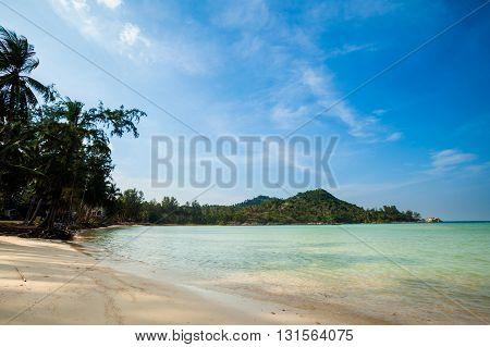 Summer seascape on tropical island Koh Phangan in Thailand. Chaloklum beach landscape.