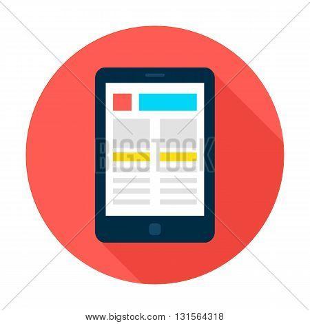 Tablet Landing Page Flat Circle Icon