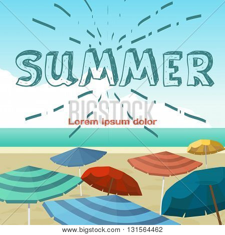Summer vacation concept background. Sea landscape summer beach parasols, umbrellas. Beach in summer vacation background with space for text. Background on beach. Vector flat cartoon illustration