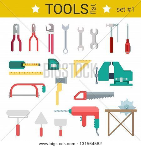 Flat design construction tools vector icon set