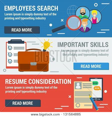 Vector flat banners employee search. List candidates to work with photos and skills description. Zoom magnifying glass picking business person with list of requirements. Web infographics