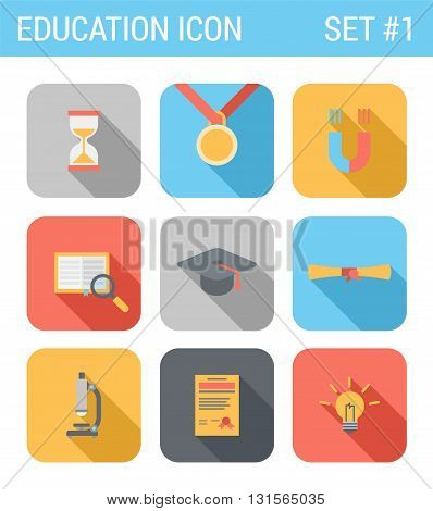 Flat style design long shadow art vector icon set