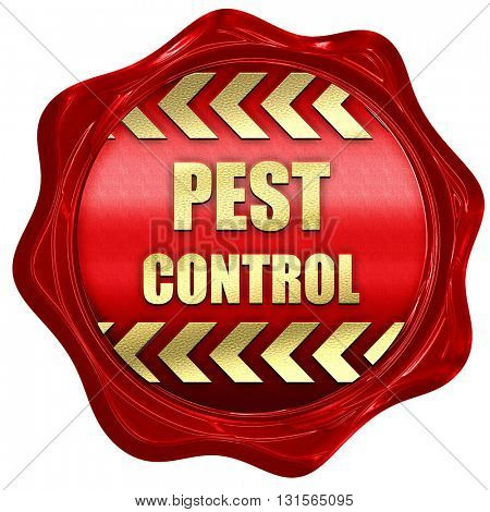 Pest control background, 3D rendering, a red wax seal
