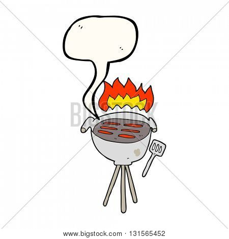 freehand drawn speech bubble cartoon barbecue