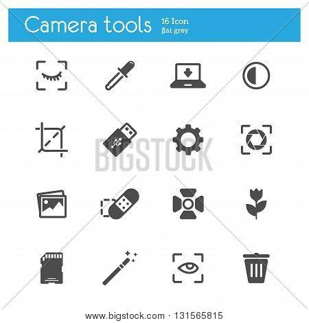 Camera tools flat icons set of 16