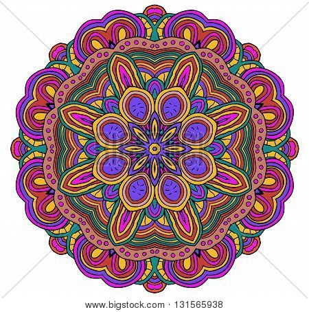 Round symmetrical pattern in pink, green and white colors. Mandala. Kaleidoscopic design. Sacred geometry. Cinco de mayo. Ethnic background.