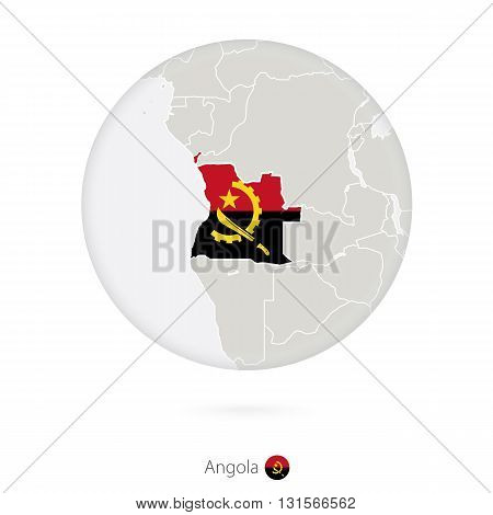 Map Of Angola And National Flag In A Circle.