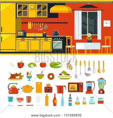 Kitchen interior object constructor template vector icon set