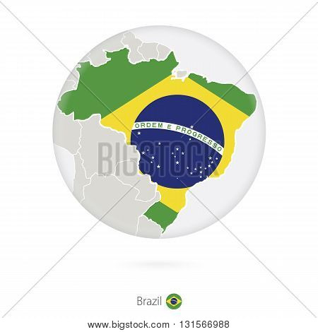 Map Of Brazil And National Flag In A Circle.