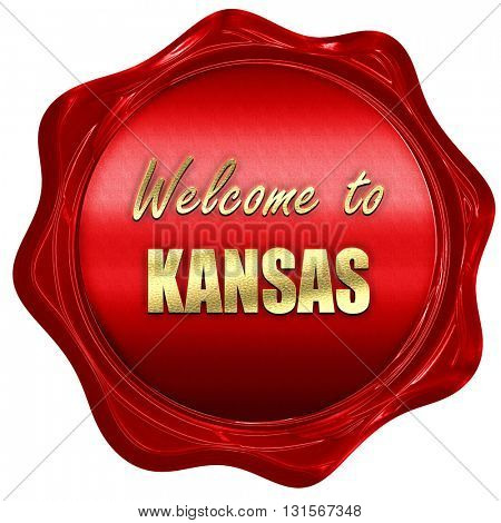 Welcome to kansas, 3D rendering, a red wax seal