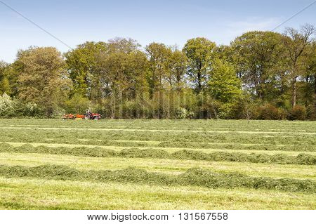 LEUSDEN NETHERLANDS - MAY 6 2016: Red tractor pulling a grass mower cutter through a lush green field.