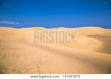 Sandy dunes in famous natural Maspalomas beach on Gran Canaria. Spain
