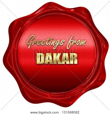 Greetings from dakar, 3D rendering, a red wax seal