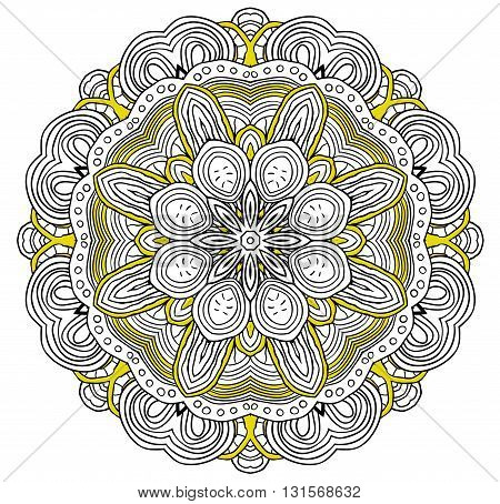 Ornamental pattern round. Lace mandala. Vector. Yellow colors.