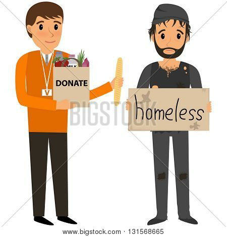 Volunteer and homeless. Volunteers helping homeless. Vector flat cartoon illustration
