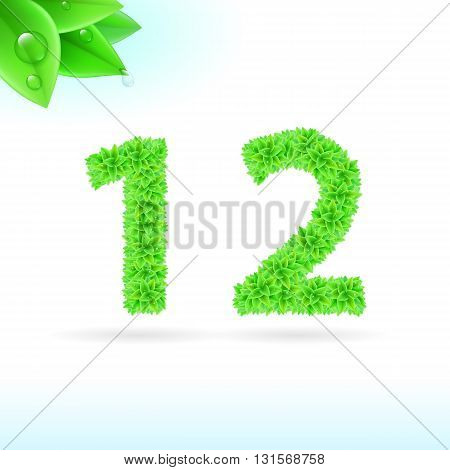 Sans serif font with green leaf decoration on white background. 1 and 2 numerals