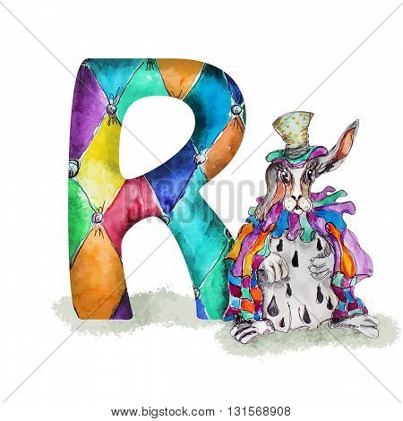 Font R Watercolor hand drawn  isolated rabbit in hat and  cape