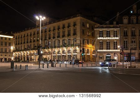 BORDEAUX FRANCE - MAY 06 2015: Grand Hotel de Bordeaux on Place de la Comedie in historical center of Bordeaux in the night France