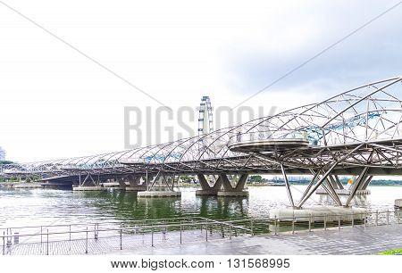 Singapore, 2016 January 14: Landscape Of Marina Bay Bridge And Palms