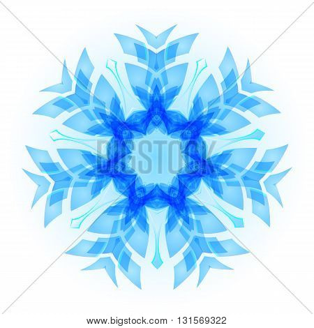 Light blue snowflake with the white background.