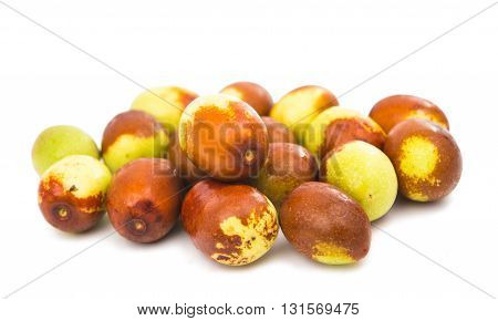 fruitage chinese jujubes isolated on white background