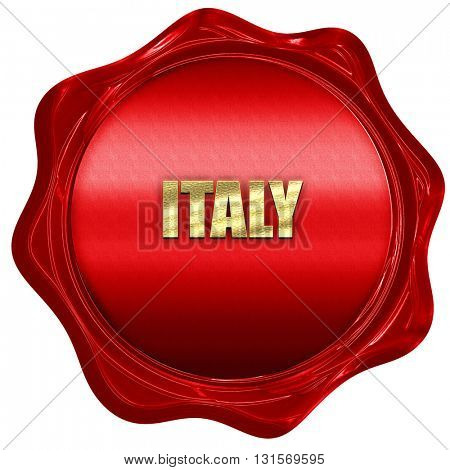 Greetings from italy, 3D rendering, a red wax seal