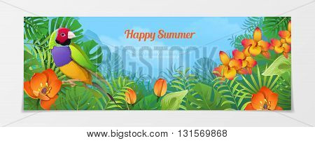 Happy summer tourism travel agency web vector illustration