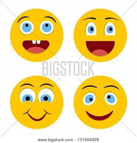 Set of Emoticons. Emoji. Yellow cheerful circle smiley