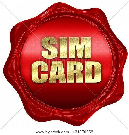 sim card, 3D rendering, a red wax seal