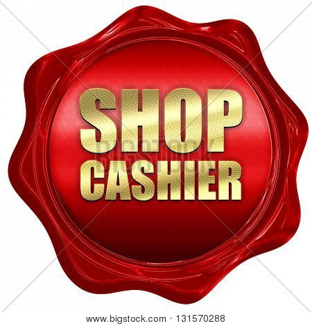 shop cashier, 3D rendering, a red wax seal