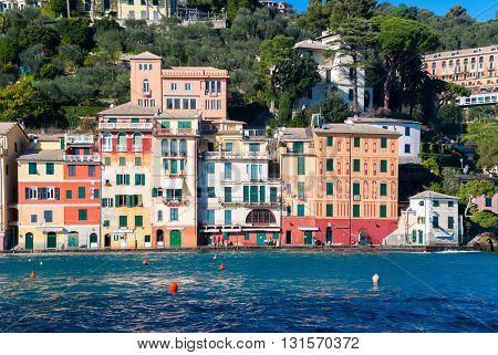 Colored houses in the promenade of Portofino