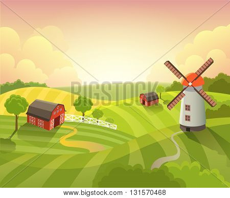 Isometric countryside farm landscape sunset farming vector flat