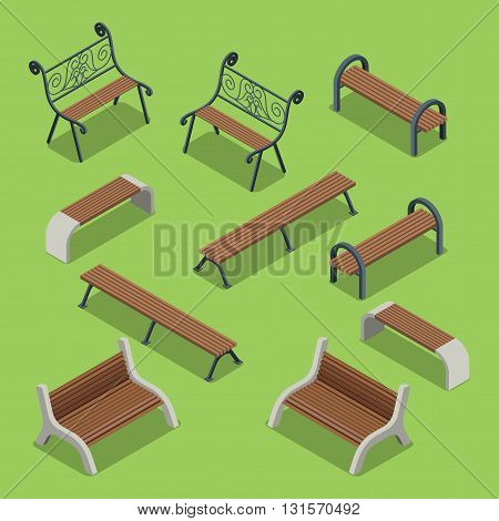 Bench icon set flat isometric vector 3d city objects