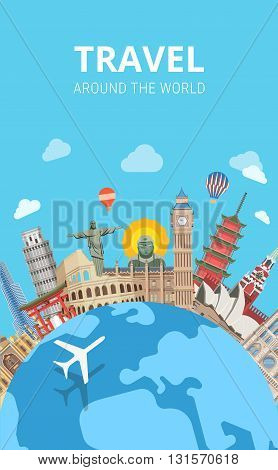 Travel around the world sightseeing flat vector travel tourism