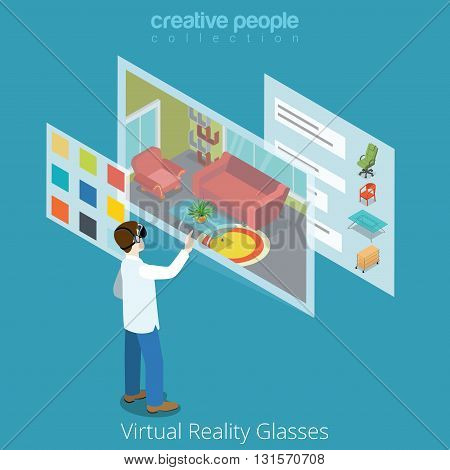 Virtual Reality VR Glass application flat isometric vector 3d