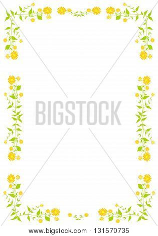 Frame with plant and orange flowers - vector illustration.