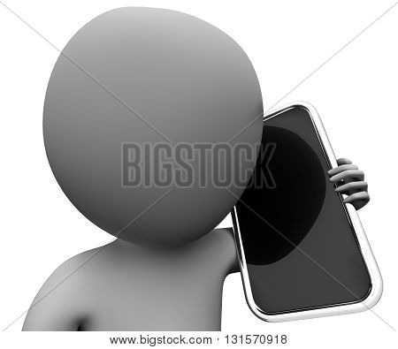 Character Calling Represents World Wide Web And Cellphone 3D Rendering
