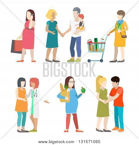 Family pregnant casual people parents parenting flat vector