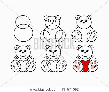 Phased drawing of a bear. Figure plush toy - white bear with heart. The circuit in the form of soft toys vector illustration